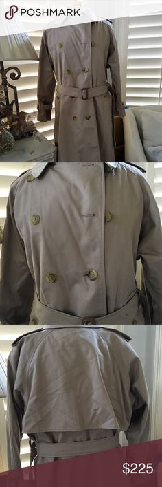 Burberry Trench Coat w Removable Wool Interior S-M A Burberry khaki trench coat with interior plaid lining and a Wool detachable lining for summer wear and added protection for winter wear. Perfect condition. Made in England. Size small-medium. I will add dimensions at later time   My mannequin is too small for coat and I am too. I was unable to button top buttons. I am always happy to answer your questions. Burberry Jackets & Coats Trench Coats