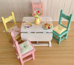Miniature Cottage Chic Drop Leaf Table Set