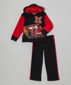 Take a look at this Disney Pixar Cars Black & Red Cars Zip-Up Hoodie & Pants - Infant on zulily today!