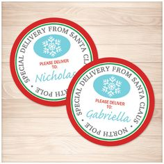 Printable Special Delivery from Santa Claus - Round Personalized Gift Tags or Stickers - Editable PDF