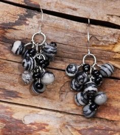 Dangle earrings black and white sesame jasper  tasteful and eco-friendly 1 1/2