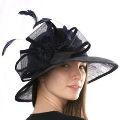#Elegant #navy #blue assymetric widebrim hat for summer and derbies by Irina Sardareva Millinery