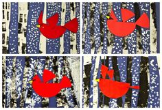 Bird Collage- 1st grade / fractions using circle for bird. Charley Harper