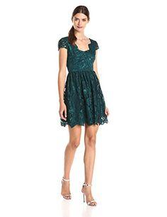 Women's Betsey Johnson Scalloped Lace Fit & Flare Dress, Size 8 - Green