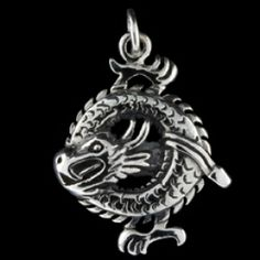 Silver pendant, water dragon Silver pendant, Ag 925/1000 - sterling silver. Water dragon design. Dimensions approx. 24x24mm.