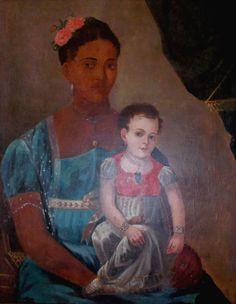Ana Maria de São José e Aragão (filha dos barões de Jaguaribe) no colo de uma escrava