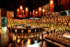 Architecture, Contemporary Restaurant Interior Design With Magnificent Lighting Effect : Inspiring Restaurant Interiors Design Ideas Las Vegas Restaurants, Asian Restaurants, Restaurant Design, Chinese Restaurant, Restaurant Lighting, Restaurant Interiors, Hibachi Restaurant, Oriental Restaurant, Arquitetura
