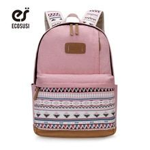 Ecosusi Canvas Printing Backpack Women Cute School Backpacks For