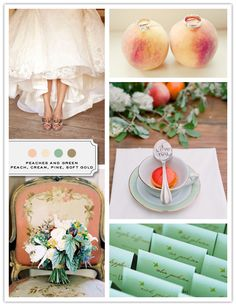 peaches and green wedding color palette: peach, cream, mint and fawn. kind of a toned down version of the other green, pink, and gold