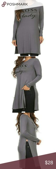 """""""Boss Lady"""" graphic printed jersey """"Boss Lady"""" graphic printed jersey knit long line top with high slit detail at side seams, long sleeves, and round neck.  Made With Love In The U.S.A.  Fiber Content: 95% Viscose, 5% Spandex Tops Tunics"""