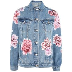 Topshop Moto Peony Painted Denim Jacket (440 RON) ❤ liked on Polyvore featuring outerwear, jackets, tops, coats, topshop, mid stone, jean jacket, blue floral jacket, floral jean jackets and blue jean jacket