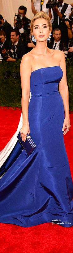 Ivanka Trump in Prabal Gurung ~ Spring Royal Blue Strapless Ball Gown 2015
