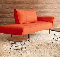 Fabulous Fabric Bright Orange Sleeper Sofa Cream Rug