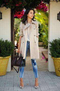 ASOS Premium trench coat with panel detail | Mango super slim Arizona jeans  | Saint Laurent Classic Cabas Y-Ligne medium leather bag