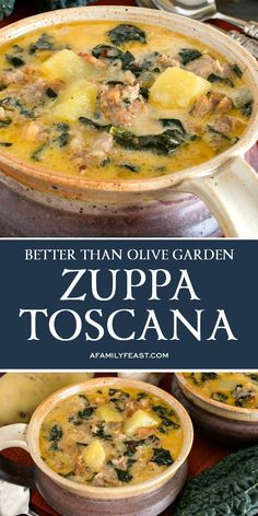 Zuppa Toscana is a hearty and delicious soup made with Italian sausage, bacon, Tuscan kale and potatoes in a creamy, flavorful broth. (It really is better than Olive Garden's version!) recipes (Better Than Olive Garden) Zuppa Toscana - A Family Feast® Easy Soup Recipes, Yummy Recipes, Crockpot Recipes, Dinner Recipes, Cooking Recipes, Healthy Recipes, Italian Soup Recipes, Italian Sausage Soup, Recipes Using Italian Sausage