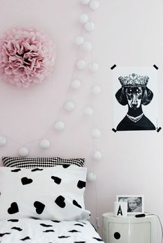 pink | black & white | girls room