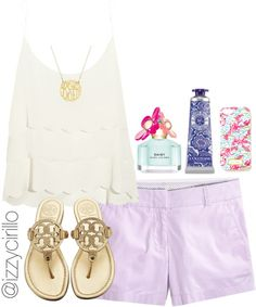 A fashion look from July 2014 featuring Topshop, J.Crew shorts and Tory Burch flip flops. Browse and shop related looks. Preppy Outfits, Preppy Style, Cute Outfits, Fashion Outfits, My Style, Preppy Clothes, Summer Clothes, Summer Wear, Spring Summer Fashion