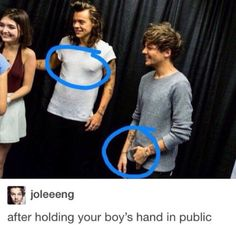 look louis has to relieve pressure on his penis because holding hands with harry in public made him erect(: