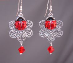 Red Ladybug Earrings with Silver Filigree flowers & Swarovski Crystals Elements Unusual Jewelry, Handmade Jewelry, Ladybug Jewelry, Class Decoration, Silver Filigree, Designer Earrings, Crystal Jewelry, Beaded Earrings, Fashion Earrings