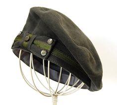 womens hat, beret, brushed grey denim