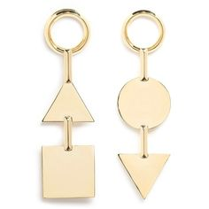 Eddie Borgo 'Mismatched Token' 12k gold plated earrings (£190) ❤ liked on Polyvore featuring jewelry, earrings, metallic, gold plated jewellery, polish jewelry, earring jewelry, geometric earrings and circle jewelry