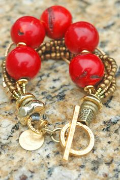 Luscious Red Coral Bracelet: Stunning Bold Red Coral Ball, Bronze Pearl and Gold Statement Bracelet Coral Bracelet, Gemstone Bracelets, Sterling Silver Bracelets, Statement Bracelets, Dainty Bracelets, Strand Bracelet, Ankle Bracelets, Charm Bracelets, Gold Bangles