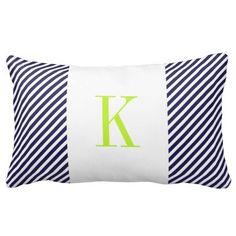 Navy Blue White Stripes Lime Green Monogram Pillows