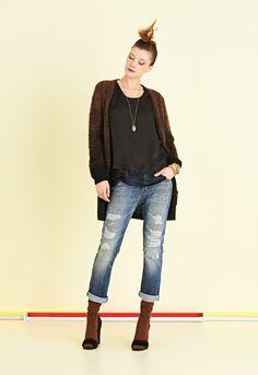 Jeans con rotture e cuciture lavaggio chiaro   #ottodAme #FW15