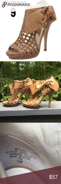 """Boutique 9 Leather Heels Gorgeous, show stopping """"Boutique 9"""" Leather 5"""" heels. Beautiful Peeptoe, with super cute Bow. These are sold at Bloomingdales. Great used condition. Gorgeous Platform profile. Make me an offer. Boutique 9 Shoes Heels"""