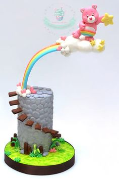Carebears Collaboration by Agnes Fenny Anti Gravity Cake, Gravity Defying Cake, Fancy Cakes, Cute Cakes, Care Bear Cakes, Cake Structure, Baby Birthday Cakes, Character Cakes, Novelty Cakes