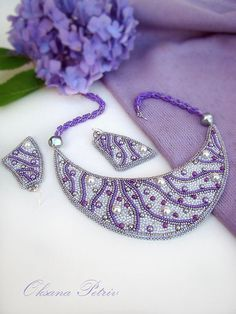 Hey, I found this really awesome Etsy listing at https://www.etsy.com/listing/196856563/lavender-silvery-necklace-beaded-bead