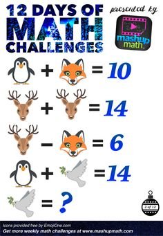 Are You Ready for 12 Days of Holiday Math Challenges? Math Games, Math Activities, Math Math, Math Enrichment, Math Challenge, Brain Teasers For Kids, Daily Math, Christmas Math, Math About Me