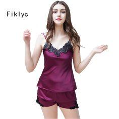 e0e0030ebd Brand sexy women s lace silk satin pajamas sets 2017 new design short pants pyjamas  sets V-neck suspenders pijamas sets