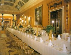 INSIDE BUCKINGHAM PALACE: THE PICTURE GALLERY PREPARED FOR A DINNER