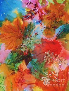 Title  Dancing Leaves And Lace   Artist  Ellen Levinson   Medium  Painting - Watercolor Collage