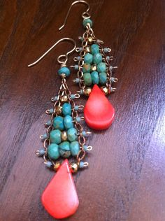 Turquoise, Coral, and gold layered earrings