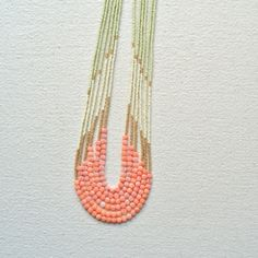 Enamoured Necklace- Pink Coral with Pale Green and Gold Palette