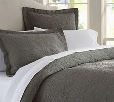 Valerie Floral Matelasse Duvet Cover and Sham - also comes in navy, brown, white and ivory #potterybarn