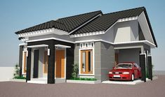 41 Simple Minimalist 1 Floor Model Homes - Dunia Adsense Home Roof Design, Floor Design, Minimalist House Design, Minimalist Home, Grey Walls White Trim, House Design Pictures, Latest House Designs, Bungalow House Design, Architect Design