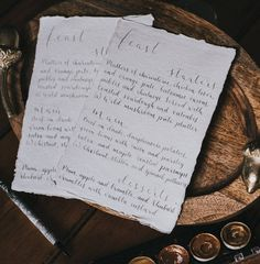 modern calligraphy handwritten a5 menu by kayleigh tarrant | notonthehighstreet.com