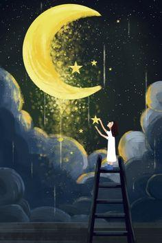 cloud layer,glorious,hand painted,healing hand,illustration,star,girl,moonlight,healing,night,starry sky