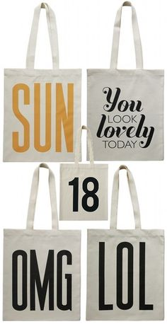 tote bags, looking lovely xo Printed Tote Bags, Cotton Tote Bags, Reusable Tote Bags, Whatsoever Things Are Lovely, Sewing Projects, Sewing Ideas, Typography Inspiration, Shopper Tote, Screen Printing