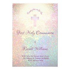 faux rainbow glitter decor first communion invitation   Zazzle.com
