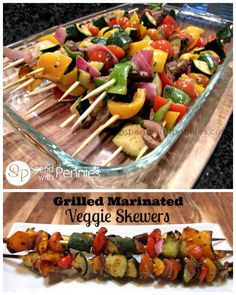 Grilled Marinated Veggie Skewers! These are easy and delicious. You can use whatever veggies you have on hand.