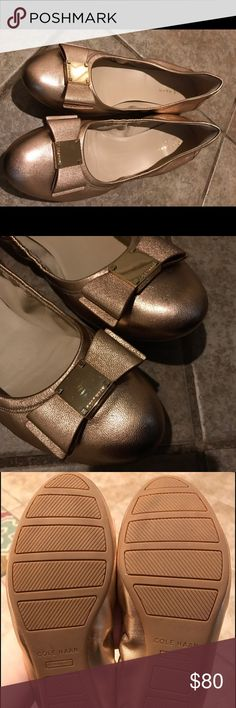 Cole Hann Tati Ballet Flats Very comfortable Cole Hann flat in size 6.5 rose gold color. Worn only once. Cole Haan Shoes Flats & Loafers