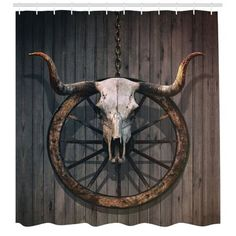 East Urban Home Ambesonne Barn Wood Wagon Wheel Throw Pillow Cushion Cover, Long Horned Bull Skull And Old West Wagon Wheel On Rustic Wall, Decorative