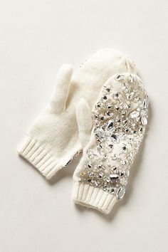 Gem-Frosted Mittens #anthropologie - DIY these cashmere beauties with a pair of regular mittens.
