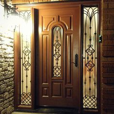 Look what we have here tonight! - a fiberglass single door and 2 sidelites. Finished it right before New Year's, but totally forgot Ive had… Beautiful Home Designs, Beautiful Homes, O Design, House Design, Entry Doors, Front Doors, Main Door, Iron Work, Single Doors