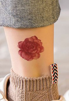 Vintage Watercolor Floral Flower Ankle Tattoo Ideas for Teens - Small Blossom Leg Tat - www.MyBodiArt.com #tattoos