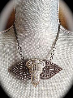 Art Deco Necklace Repurposed clear rhinestone by JNPVintageJewelry
